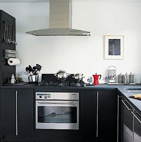 Lately we've been admiring kitchens featuring shades of black, white, and red, a classic Scandinavian combination.