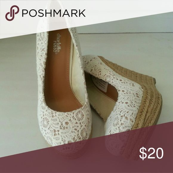 White lace Charlotte Rouse wedges Lace top with brown braided rope bottom. Cute for the Spring. Shoes Wedges