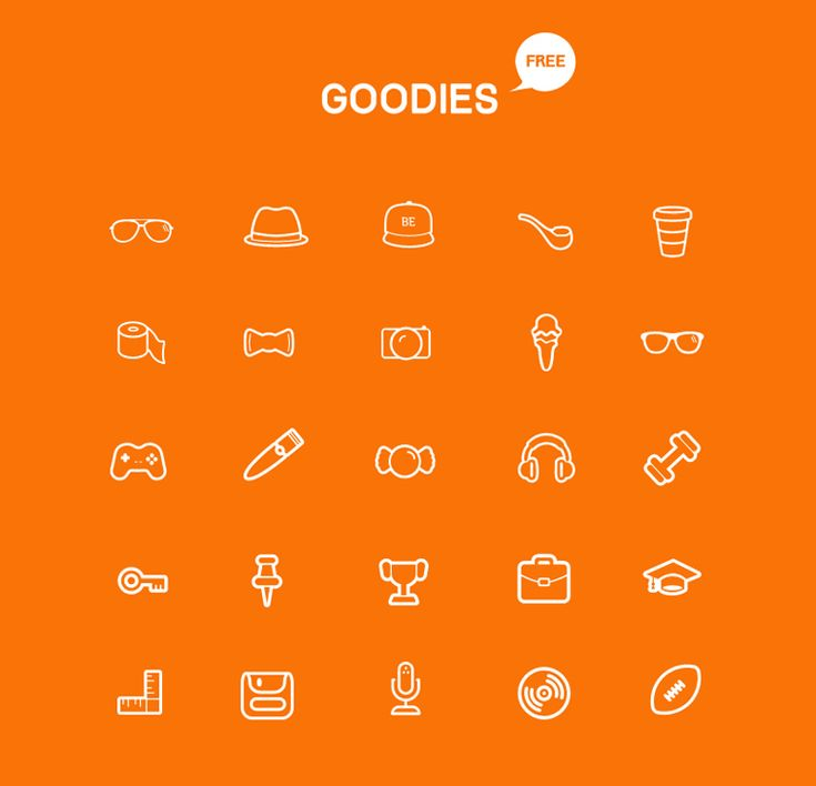 a free icon set that contains 25 goodie icons