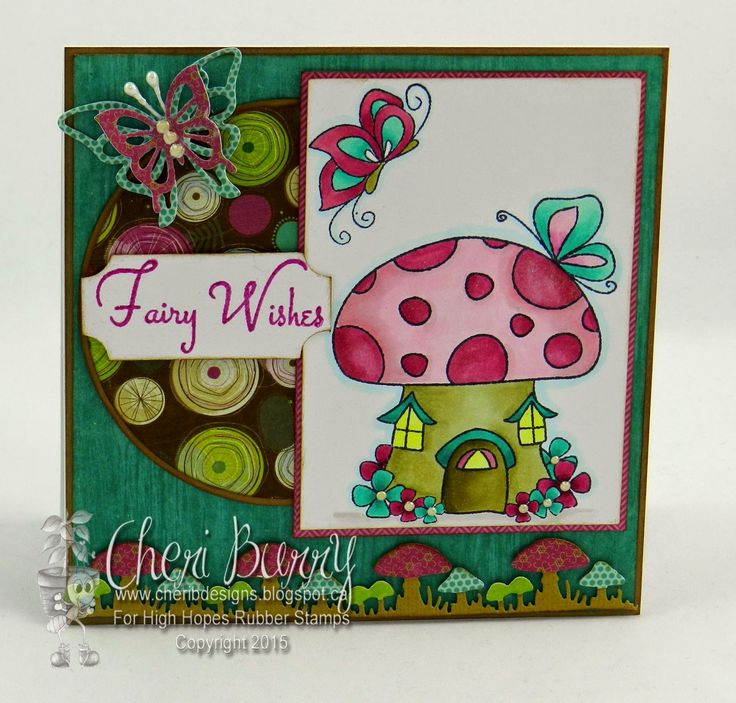 """High Hopes Stamps: """"Fairy Wishes"""" by Cheri using New Release """"Julie's Dream House"""" (S523) Julie's Butterfly (H500) & Sentiment Set #2 (U501)"""