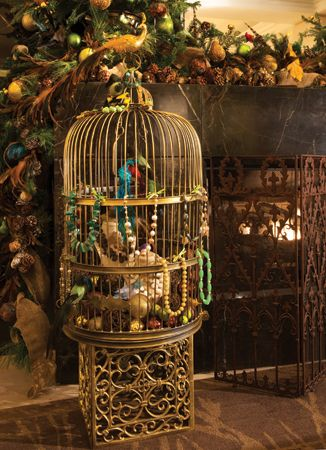 A gilded birdcage by Allison Priebe Brooks, Paul Baldwin and Don Patterson. #holiday #season