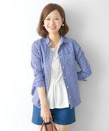 URBAN RESEARCH DOORS WOMENS(アーバンリサーチドアーズウィメンズ)のDOORS ギンガムベーシックコットンシャツ(シャツ・ブラウス)|ブルー