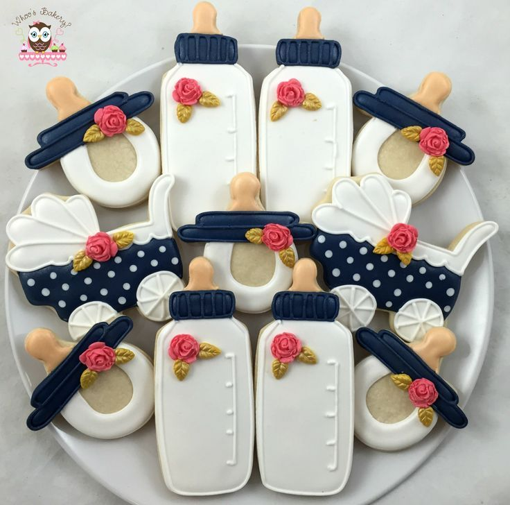 awesome Baby bottle cookies, blue coral and white colors, pokadot pram cookies, pokadot ...