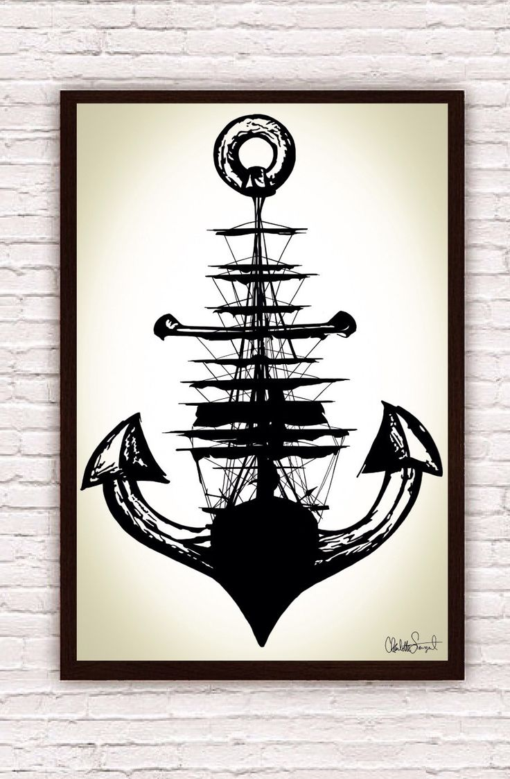 Velero anclaje Poster Print / / náutica arte de por Clarafornia