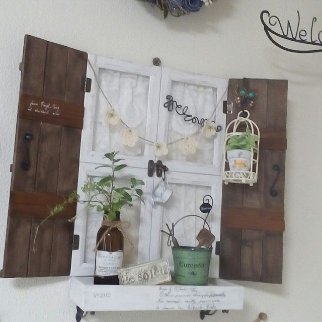 mariagardenさんの、壁/天井,観葉植物,ダイソー,雑貨,ニトリ,セリア,ガーランド,写真立てリメイク,すのこリメイク,のお部屋写真