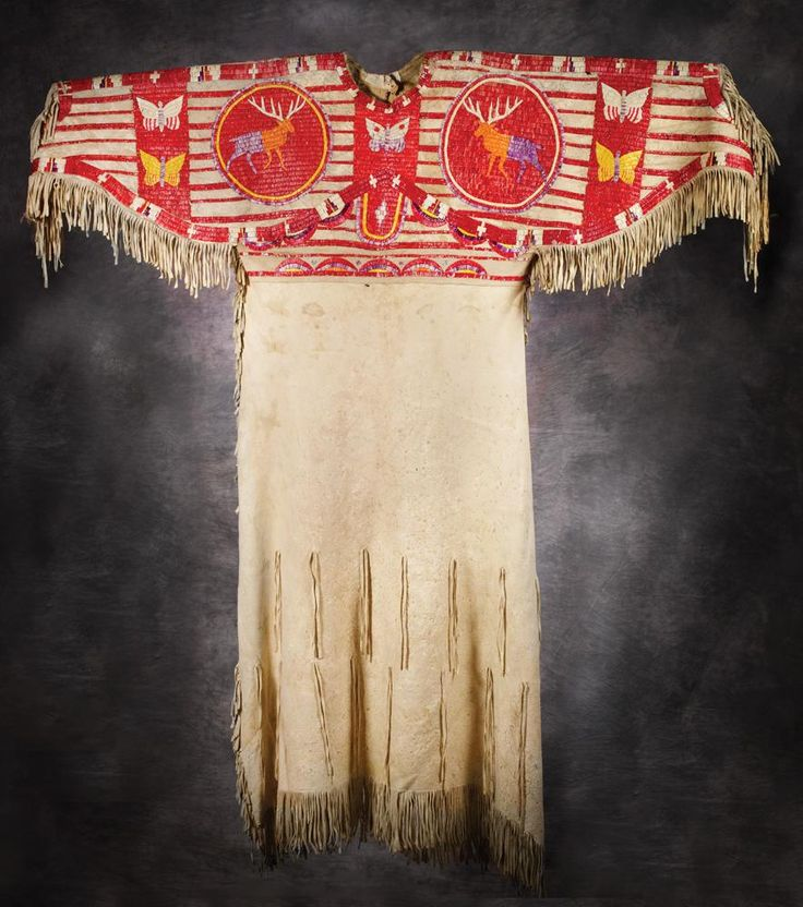 Sioux Quilled Pictorial Dress, c 1890 (So beautiful!)