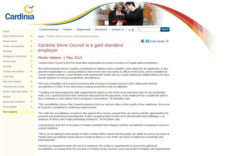 Cardinia Shire Council - the first IIP Gold organisation in Australia