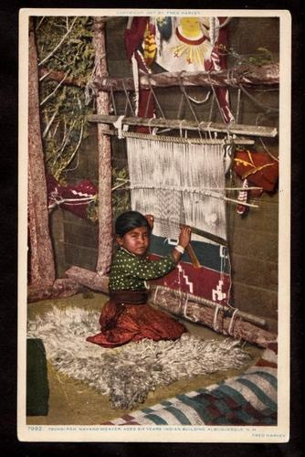 1907 Fred Harvey Child Tsonsi Pah Navajo Indian Weaver New Mexico Postcard | eBay