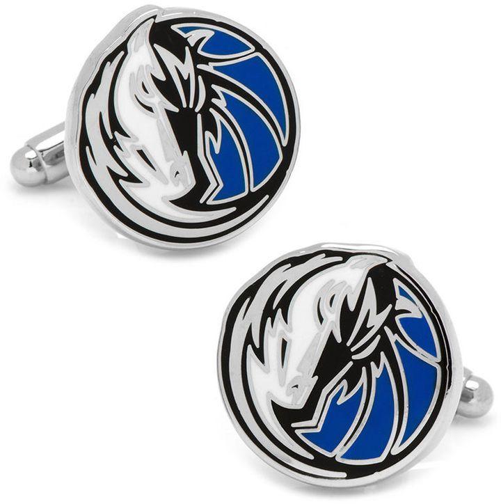 Zales Men's NBA Dallas Mavericks Logo Enamel Cuff Links in White Rhodium Brass