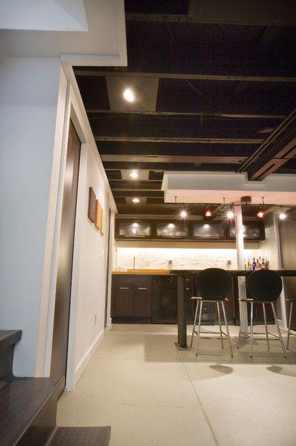 Basement ceiling option not black though basement for Black ceiling basement ideas