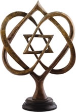 """Sculpture...Star of David formed through intertwined hearts Size: 11""""H x 7""""W x 3""""D Artist: Lawrence Oliver"""