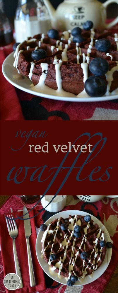 "Plant-based Red Velvet Waffles with ""Cream Cheese"" Sauce by An Unrefined Vegan. Oil-free."