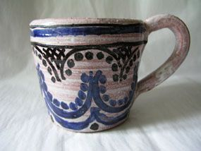 Large mug, circa 1940, potted by Quentin Bell and decorated by Vanessa Bell