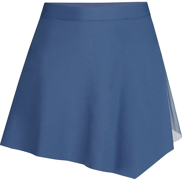 Capezio Blue Asymmetrical Skirt (€10) ❤ liked on Polyvore featuring skirts, blue knee length skirt, see-through skirts, capezio, blue skirt and asymmetrical skirts