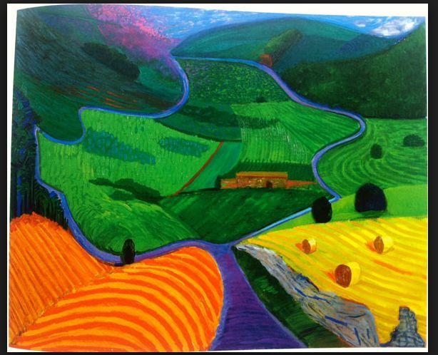 David Hockney, ik vind die rivier die in tweeen splitsen erg mooi en de heuvels…