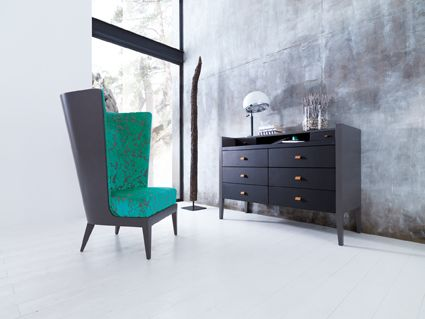 Bergére ASTORIA and chest of drawers WALDORF designed by Lorenzo Bellini #SELVA #furniture