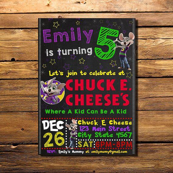 Chuck E Cheese Birthday Invitation Chuck E Cheese Invitation