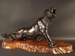 VENDU. Bronze Meiji. Exceptionnel tigre rugissant en bronze, Japon 19ème siècle.