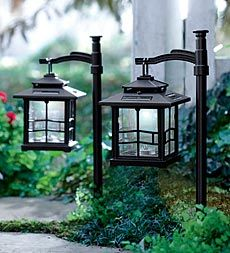 set-of-2-led-solar-lantern-with-shepherds-hook/ground-stake  Plow & Hearth  LOVE THIS IDEA FOR FRONT WALK WAY AND AROUND POND