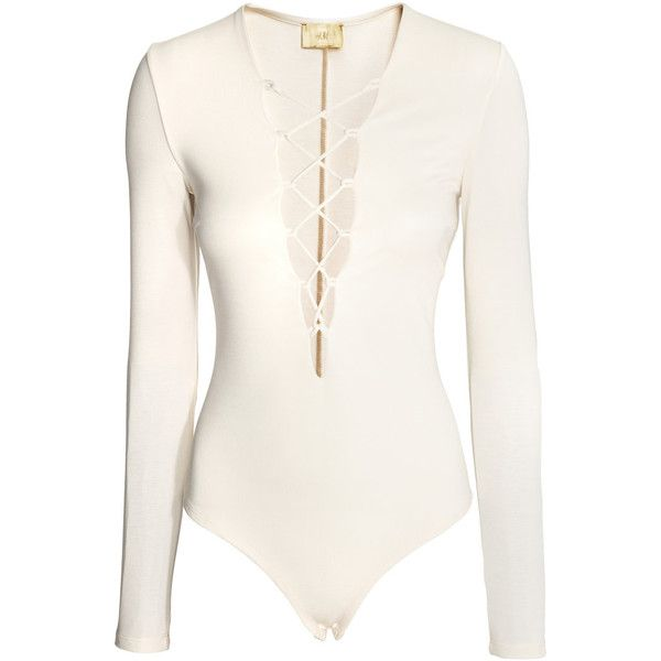 Pitkähihainen body 29,99 (£24) ❤ liked on Polyvore featuring h&m