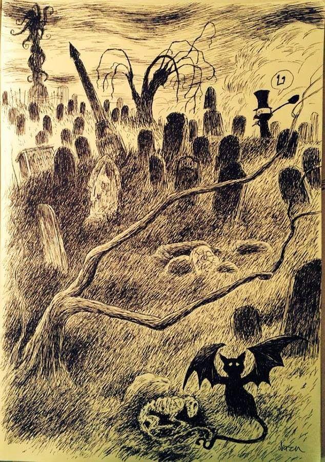 'Ghost Cat' by Drazen Kozjan of The Happy Undertaker. http://happyundertaker.blogspot.com.au/2014/09/ghost-cat.html