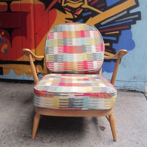 Vintage Retro Ercol Windsor Armchair in Warwick Medina Fabric | eBay