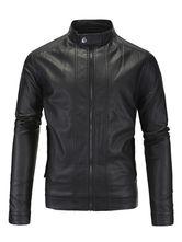 Wolverine stile Biker giacca di pelle nera per gli uomini appendiabiti collare sottile