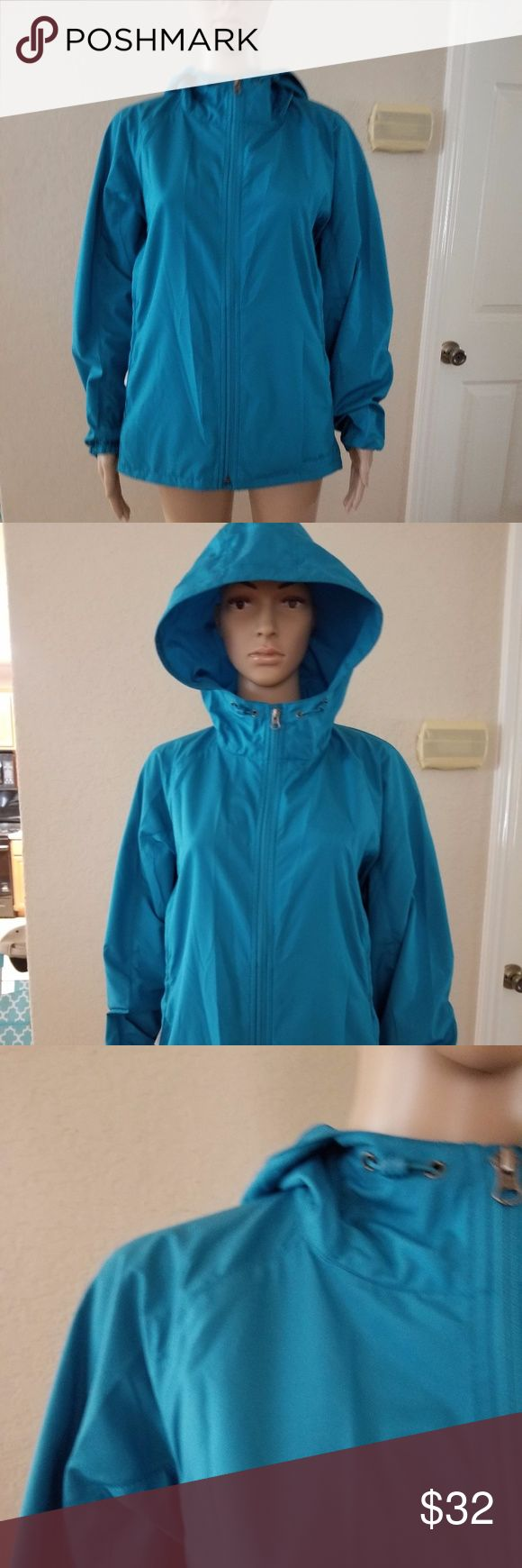 "Eddie Bauer women's Windbreaker Jacket For your consideration:   Eddie Bauer women's Windbreaker Jacket with vented cape.  Color Teal Blue   Size large  Measurement approximately are:  Underarm to underarm 19.5""  Front length from shoulder to hem: 25.5"" Eddie Bauer Jackets & Coats Utility Jackets"