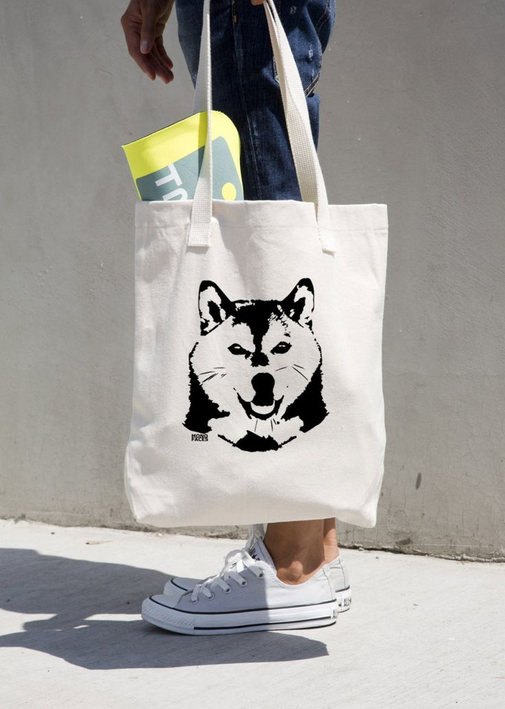 Shiba Inu Dog Canvas Tote Bag, Shiba Inu Gifts, Dog Walker Gift, Dog Walking Bag, Personalised Pet Sitter Gift, Customised Dog Owner Gift by MONOFACESoADULT on Etsy