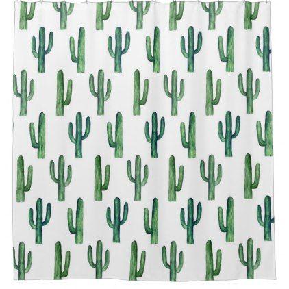 Cactus watercolor. Green botanical. Modern Shower Curtain - shower curtains home decor custom idea personalize bathroom