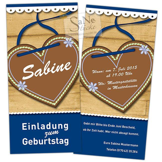 Einladungskarte Zum Geburtstags Oktoberfest Mit Lebkuchenherz In Zwei  Farbvarianten