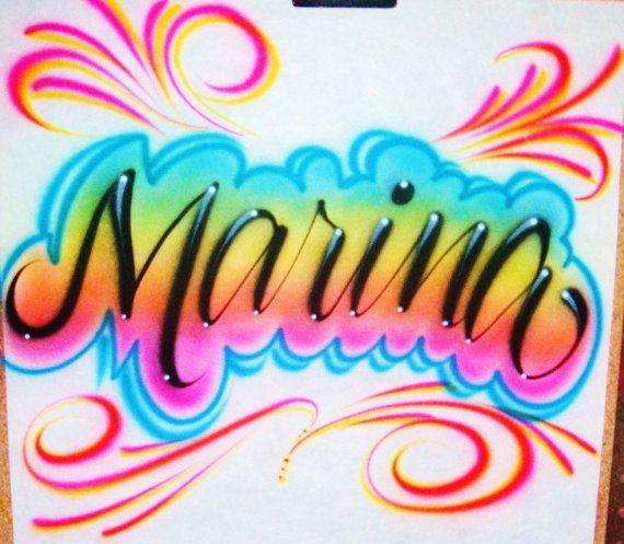 Airbrush T Shirt Personalized Name With Swirls and Custom Colors