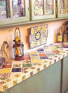 From Kristi Black Designs, A Kitchen Counter Featuring Talavera Tile And  Decorative Accents. Love This Countertop! Girls Bath And Shower Design