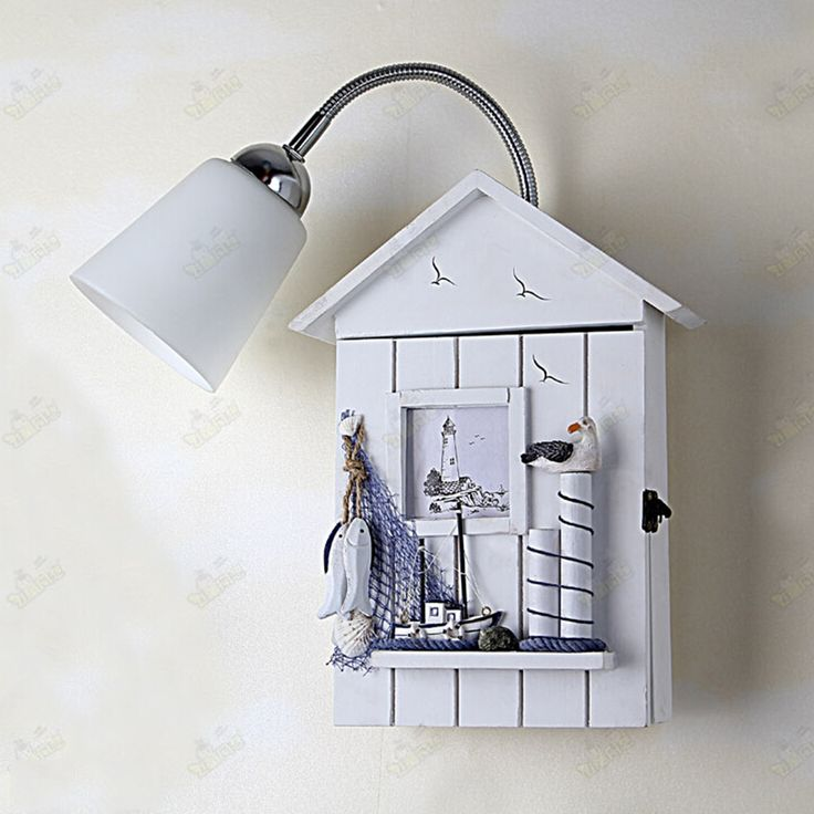 83.30$  Buy here - http://alivym.worldwells.pw/go.php?t=32776342971 - Mediterranean House Pastoral Style Kids Led Wall Lamp AC 110V-220V Navy Wind Creative Wall Light Lamps Vintage wall sconces