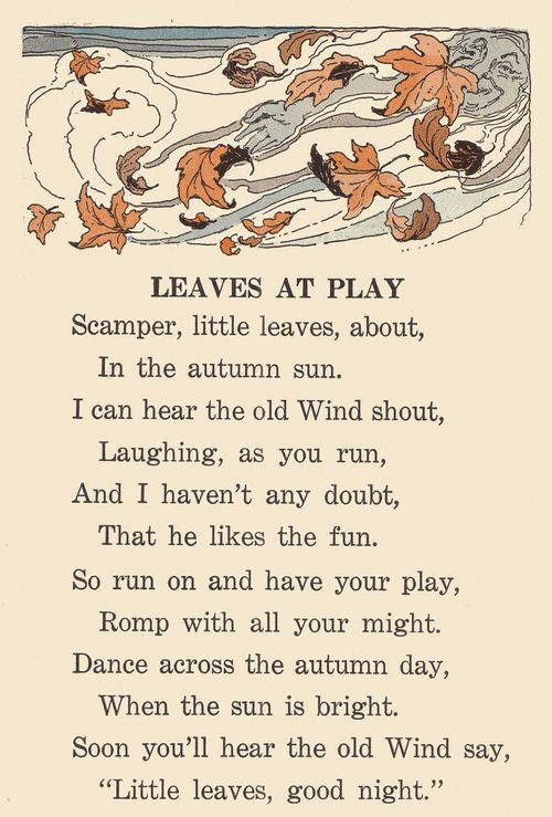 Sweet autumn poem for the children to memorize and recite come fall.