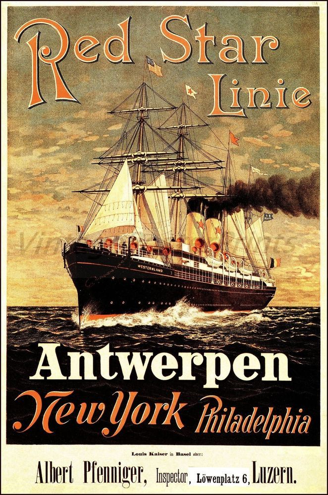 Red Star Line 1883 Ship Antwerpen NY Philadelphia Vintage Poster Print Art (b http://stores.ebay.com/Vintage-Poster-Prints-and-more