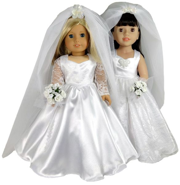 This gorgeous Wedding Dress doll clothes pattern for 18 inch dolls includes two options. The first has lace overlay on the bodice and delicate lace sleeves while the second option is sleeveless and has gorgeous lace overlay on a very full skirt. Can't decide which one to make? Why not make one for the bride and the other in colour for the bridesmaid. Also included are patterns for a petticoat, which helps to give fullness to the skirt, and a beautiful full length wedding veil.