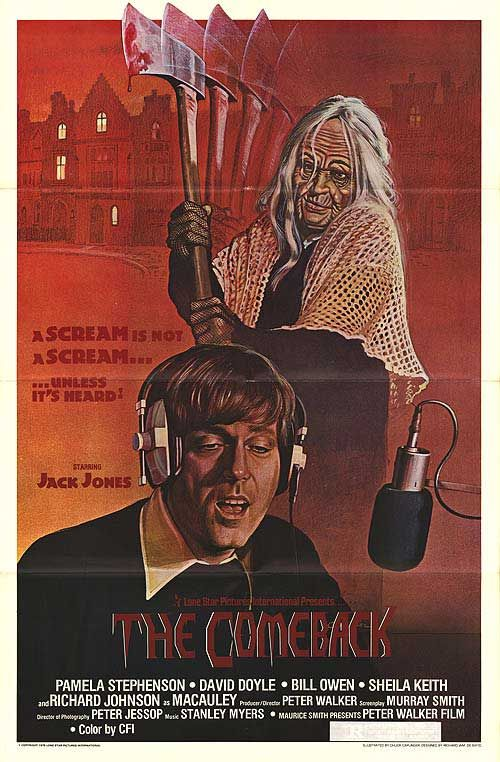 Directed by Pete Walker.  With Jack Jones, Pamela Stephenson, David Doyle, Bill Owen. A singer holes up at a sinister estate to write new songs for his act. The ghost of his murdered wife begins to haunt him, then the person who actually killed her shows up at the mansion.