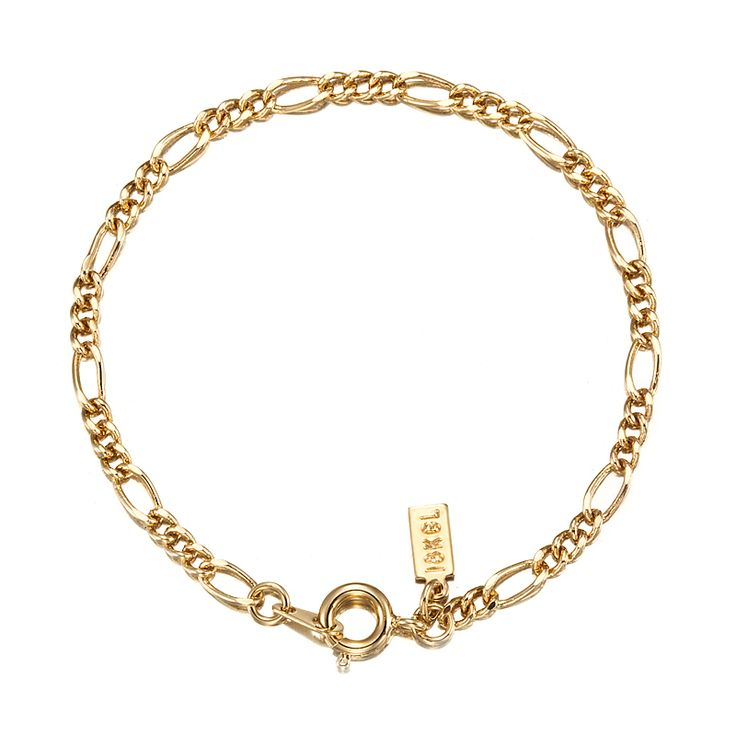 18ct Yellow Gold Layered Figaro Babies Bracelet with Spring Ring | Allure Gold