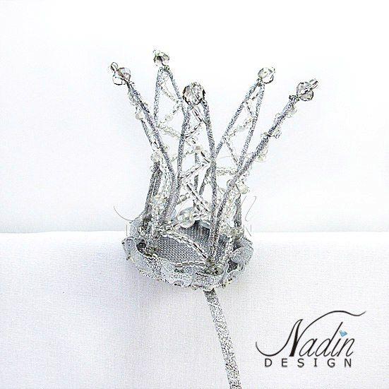 Ободок Корона из бисера серебрянная