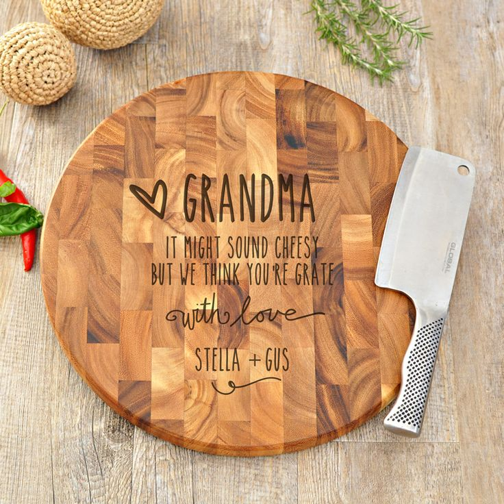 Gifts For Grandma. Custom Personalised Engraved End Grain Wooden Chopping Cutting Serving Boards - SPATZ Mini Peeps®