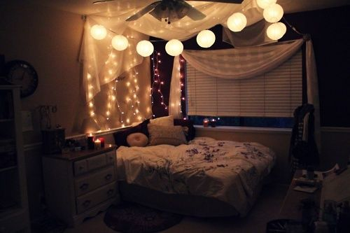 bedroom 2 with string lights and faux canopy for the. Black Bedroom Furniture Sets. Home Design Ideas
