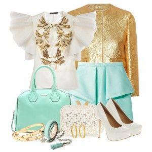 С чем носить белые туфли: бирюзовая юбка, белая блузка, золотистый пиджак, бирюзовая сумка, золотые украшения