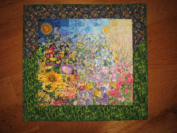 Art Quilt Sunshine Garden Wall Hanging Quilted by TahoeQuilts