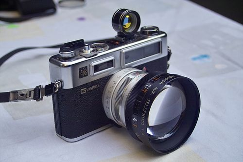 Yashica Electro 35 GS with tele lens