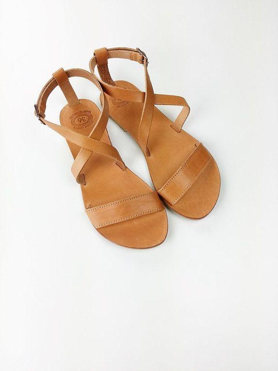 Bout ouvert cuir grec sandales  sandales grecques à par Leatherhood