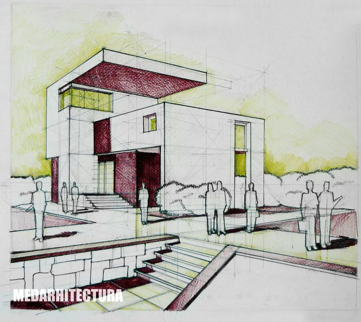 Modernist House, Pencil + Colored Crayons | ARCH-student.com