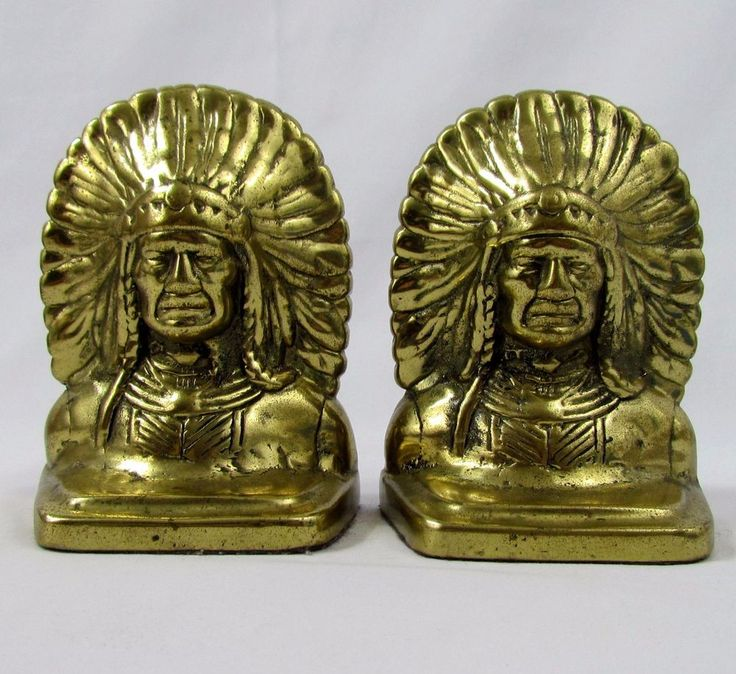 "Vtg 6"" Indian Chief Bust Brass Bookends 7lbs - Mid Century Unmarked Southwestern"