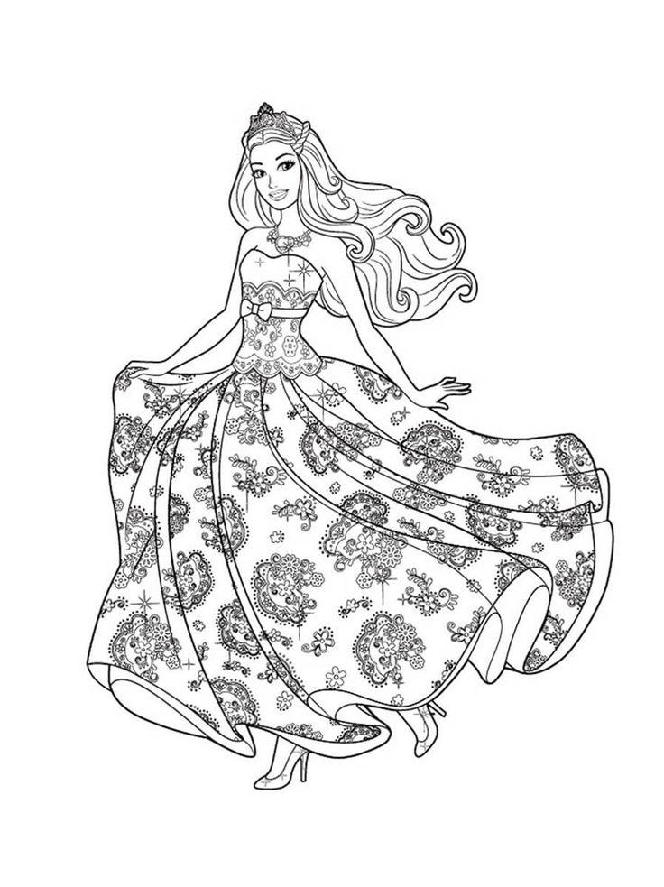 Кукла Барби в пышном красивом платье - Барби   Раскраски ...