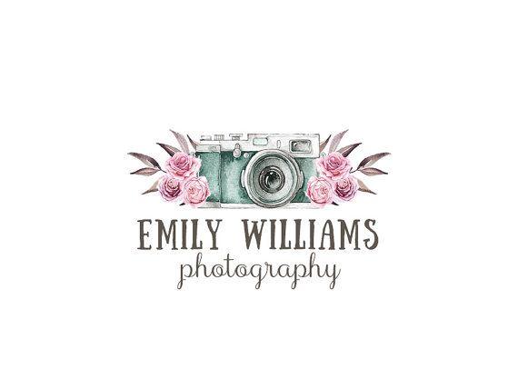 Photography Logo and watermark, Premade Logo Design, Watercolor floral camera Logo, Rustic Roses Logo, Vintage Whimsical Logo 264